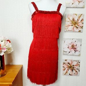 Dresses & Skirts - Red dress whit fringes and sequins